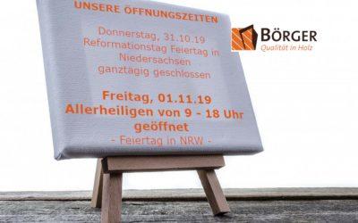 Unsere Öffnungszeiten am Reformationstag und an Allerheiligen